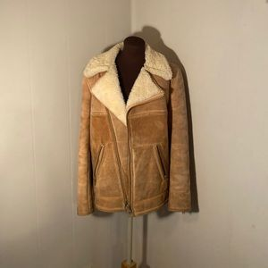 Vintage Leather Real Shearling Aviator Jacket
